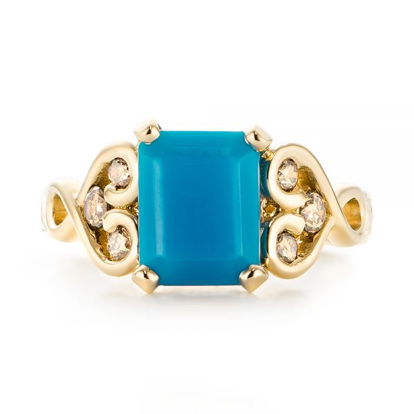 14k Yellow Gold 14k Yellow Gold Custom Turquoise And Champagne Diamond Engagement Ring - Top View -  103377