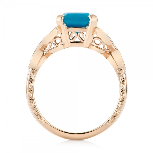 Custom Rose Gold Turquoise and Champagne Diamond Engagement Ring - Finger Through View