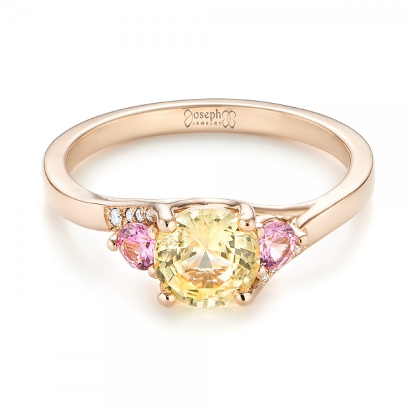 Custom Three Stone Rose Gold Yellow and Pink Sapphire and Diamond Engagement Ring - Laying View