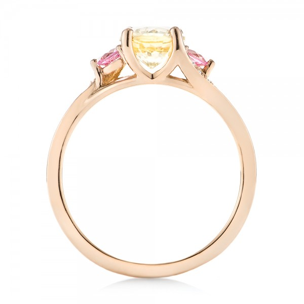 custom three gold yellow and pink sapphire and