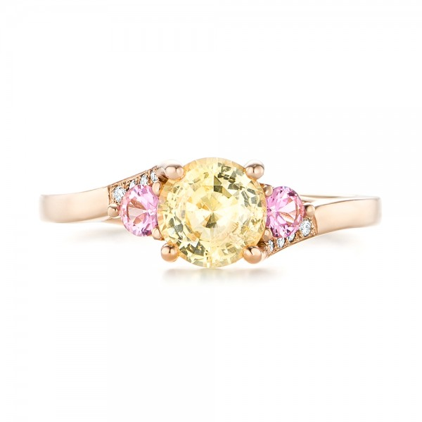 Custom Three Stone Rose Gold Yellow and Pink Sapphire and Diamond Engagement Ring - Top View