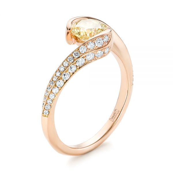 Custom Rose Gold Yellow and White Diamond Engagement Ring - Three-Quarter View -  103301 - Thumbnail