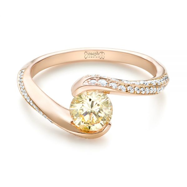 Custom Rose Gold Yellow and White Diamond Engagement Ring - Flat View -  103301 - Thumbnail