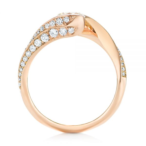 Custom Rose Gold Yellow and White Diamond Engagement Ring - Front View -  103301 - Thumbnail