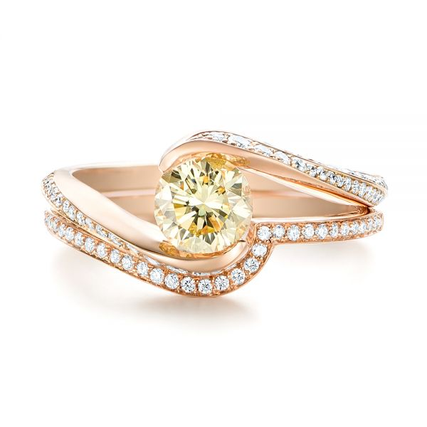 Custom Rose Gold Yellow and White Diamond Engagement Ring - Top View -  103301 - Thumbnail