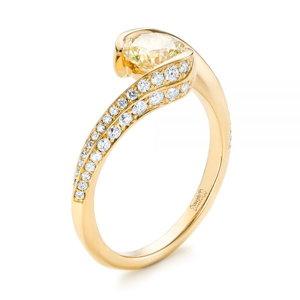18k Yellow Gold 18k Yellow Gold Custom Yellow And White Diamond Engagement Ring - Three-Quarter View -