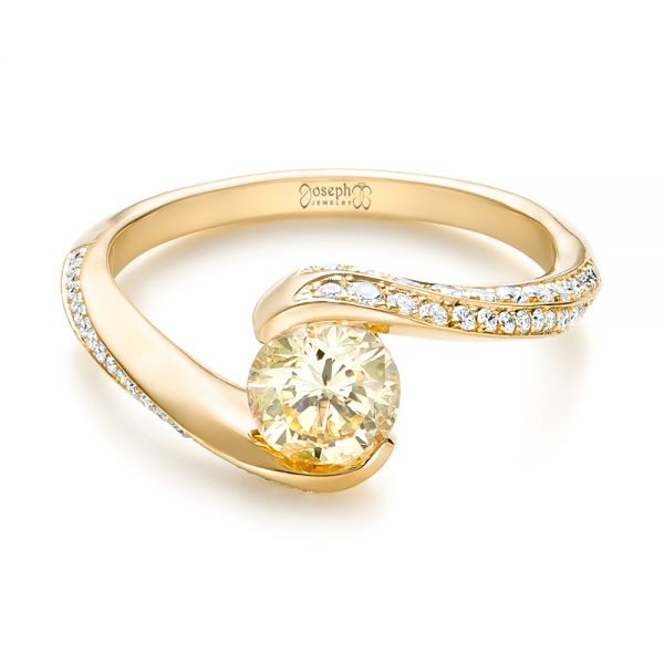 18k Yellow Gold 18k Yellow Gold Custom Yellow And White Diamond Engagement Ring - Flat View -