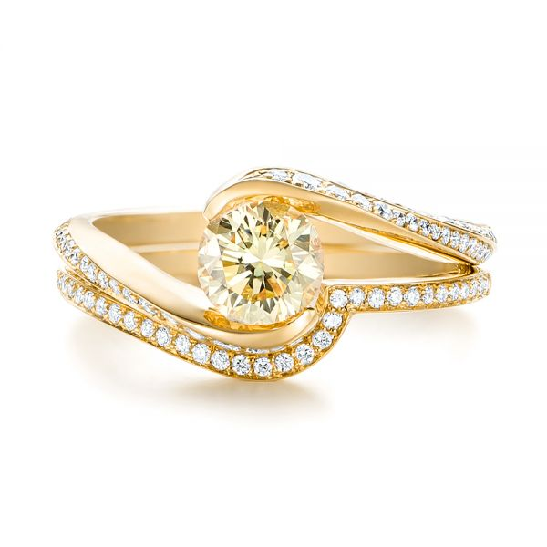 18k Yellow Gold 18k Yellow Gold Custom Yellow And White Diamond Engagement Ring - Top View -
