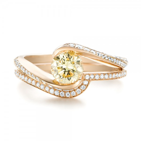 Custom Rose Gold Yellow and White Diamond Engagement Ring - Top View