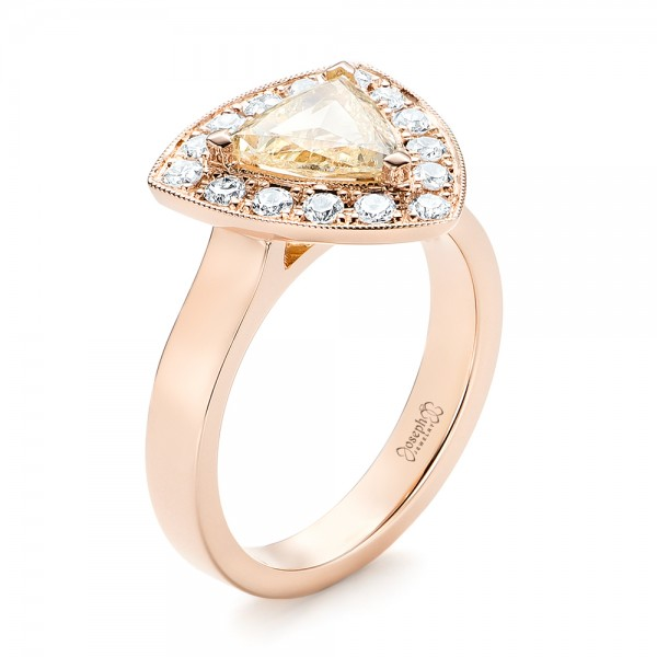 Custom Rose Gold Yellow and White Diamond Halo Engagement Ring