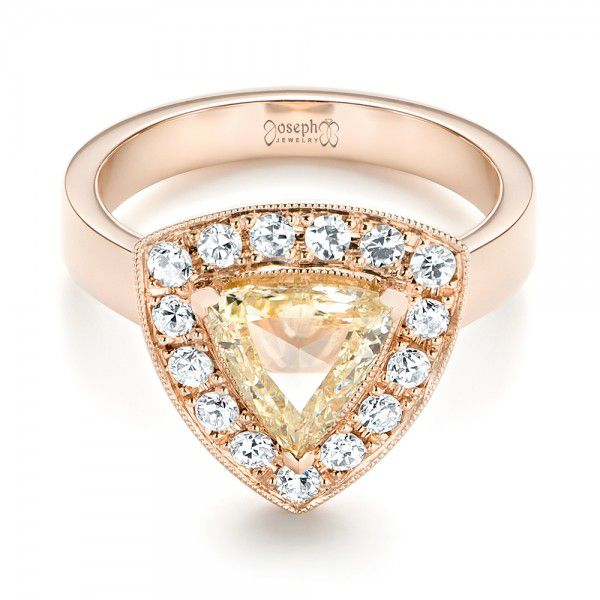 14k Rose Gold Custom Yellow And White Diamond Halo Engagement Ring - Flat View -