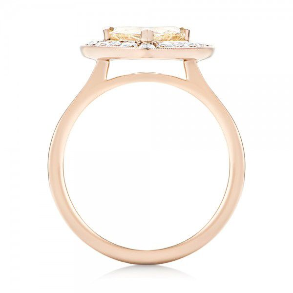 14k Rose Gold Custom Yellow And White Diamond Halo Engagement Ring - Front View -