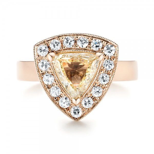 14k Rose Gold Custom Yellow And White Diamond Halo Engagement Ring - Top View -