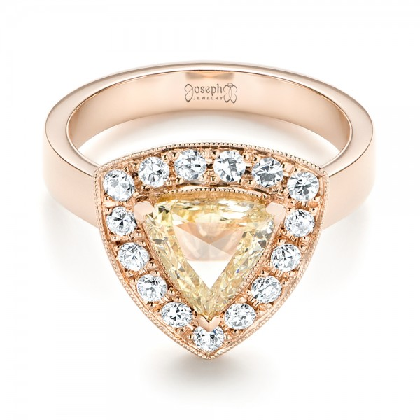 Custom Rose Gold Yellow and White Diamond Halo Engagement Ring - Laying View