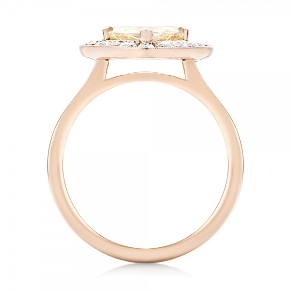 Custom Rose Gold Yellow and White Diamond Halo Engagement Ring - Finger Through View