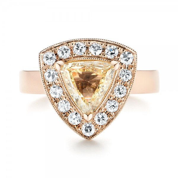 Custom Rose Gold Yellow and White Diamond Halo Engagement Ring - Top View