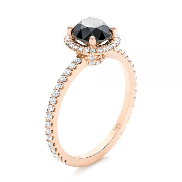 Custom Rose Gold and Black and White Diamond Engagement Ring - Image