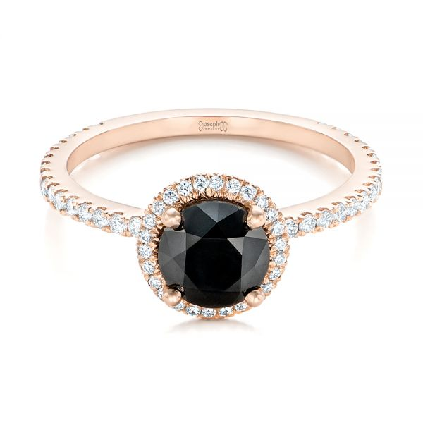 18k Rose Gold Custom Black And White Diamond Engagement Ring - Flat View -