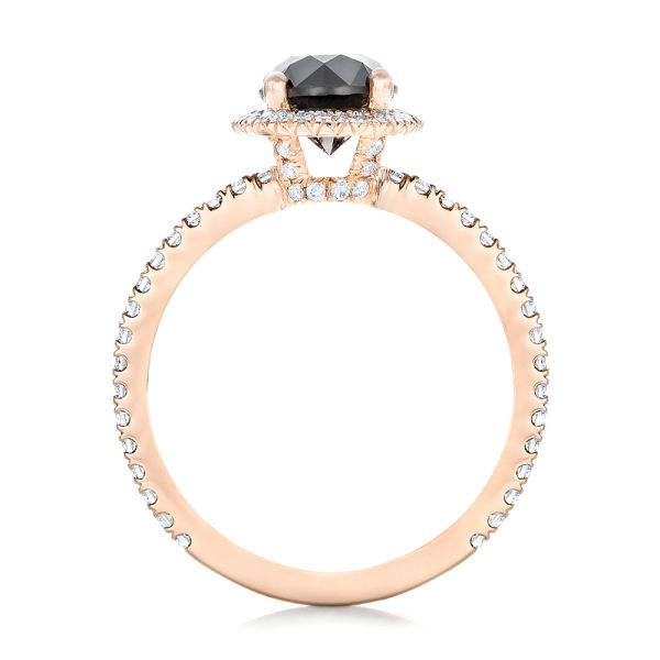 18k Rose Gold Custom Black And White Diamond Engagement Ring - Front View -