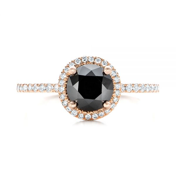 18k Rose Gold Custom Black And White Diamond Engagement Ring - Top View -