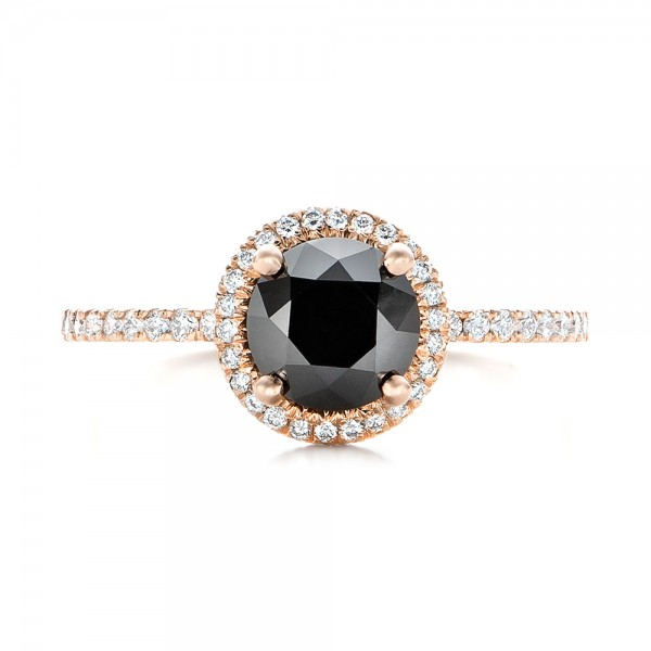 Custom Rose Gold and Black and White Diamond Engagement Ring - Top View