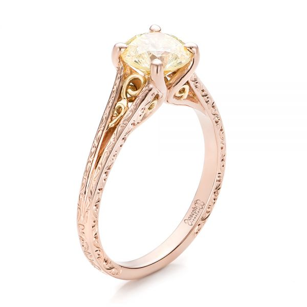 Custom Rose Gold and Champagne Diamond Engagement Ring - Image