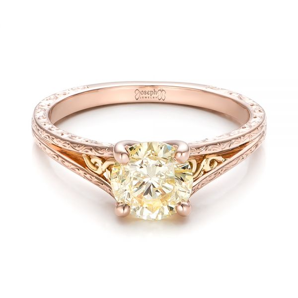 Custom Rose Gold and Champagne Diamond Engagement Ring - Flat View -  101103 - Thumbnail