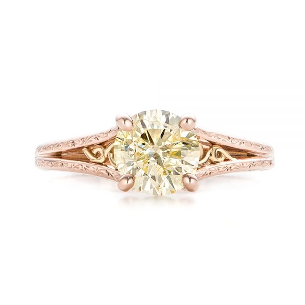 Custom Rose Gold and Champagne Diamond Engagement Ring - Top View -  101103 - Thumbnail