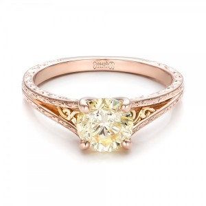 Custom Rose Gold and Champagne Diamond Engagement Ring