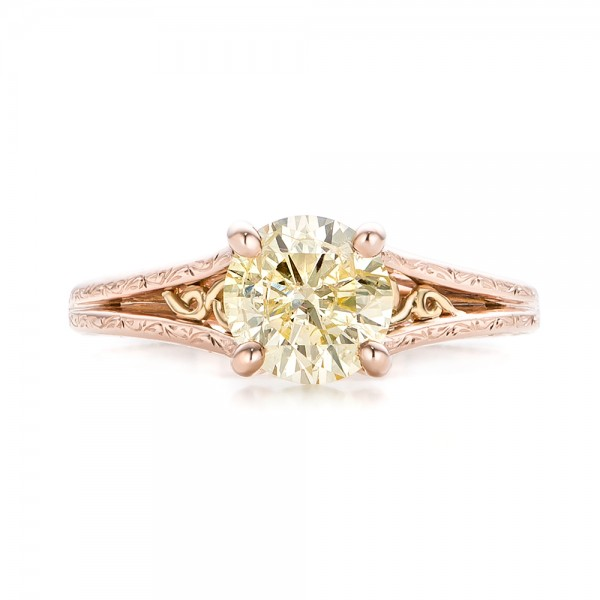 Custom Rose Gold and Champagne Diamond Engagement Ring 101103