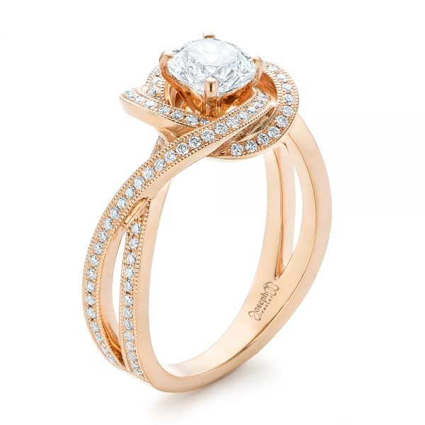 14k Rose Gold Custom Diamond Engagement Ring - Three-Quarter View -