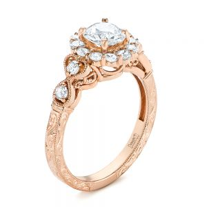 Custom Rose Gold and Diamond Engagement Ring - Image