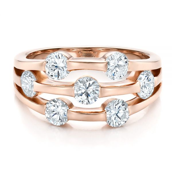 Custom Rose Gold and Diamond Engagement Ring - Flat View -  100249 - Thumbnail