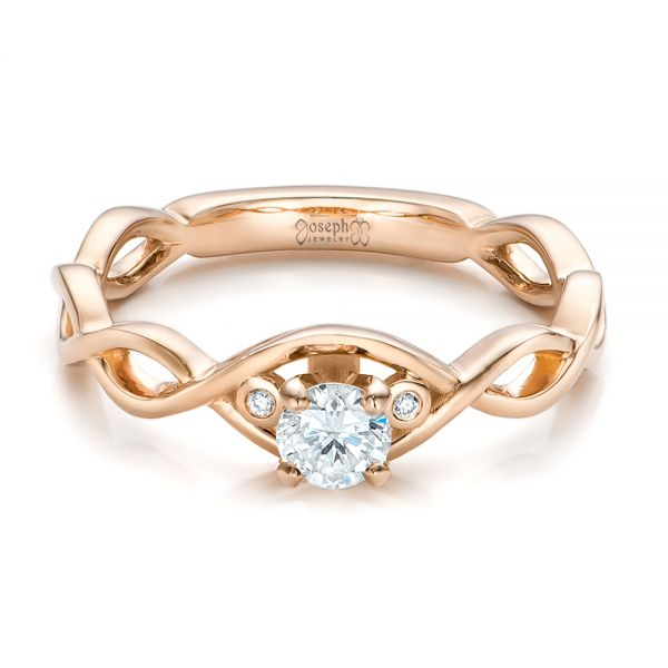 Custom Rose Gold and Diamond Engagement Ring - Flat View -  100922 - Thumbnail