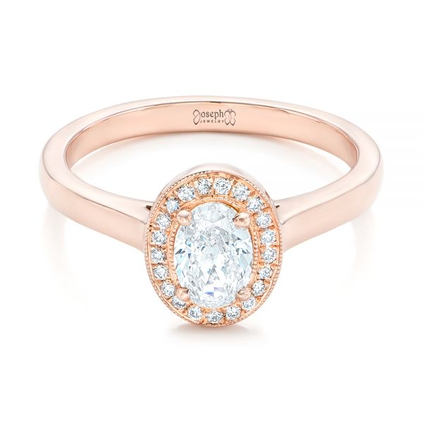 Custom Rose Gold and Diamond Engagement Ring - Flat View -  102432 - Thumbnail
