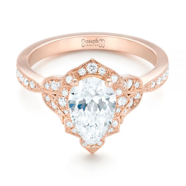 Custom Rose Gold and Diamond Engagement Ring - Flat View -  102806 - Thumbnail