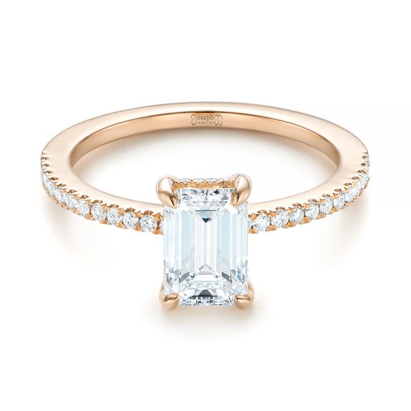18k Rose Gold Custom Diamond Engagement Ring - Flat View -