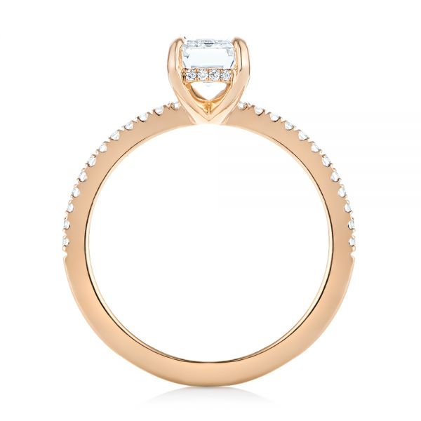18k Rose Gold Custom Diamond Engagement Ring - Front View -