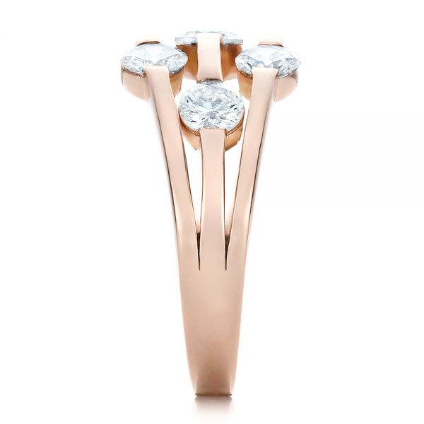 Custom Rose Gold and Diamond Engagement Ring - Side View -  100249 - Thumbnail
