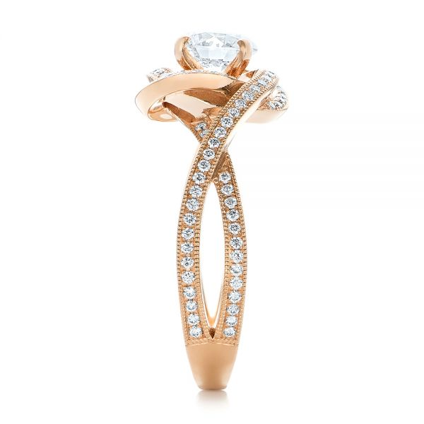 14k Rose Gold Custom Diamond Engagement Ring - Side View -