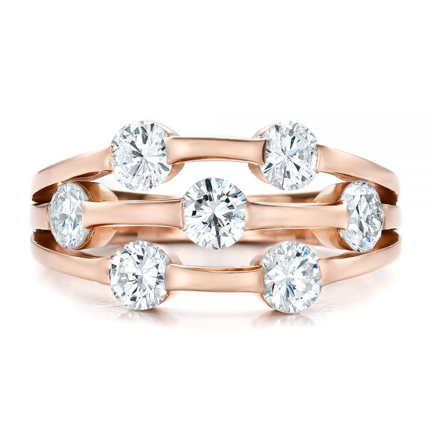 Custom Rose Gold and Diamond Engagement Ring - Top View -  100249 - Thumbnail