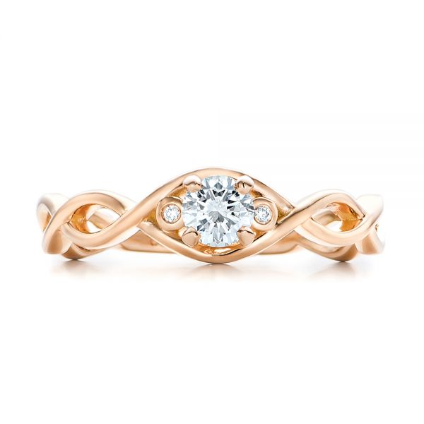Custom Rose Gold and Diamond Engagement Ring - Top View -  100922 - Thumbnail