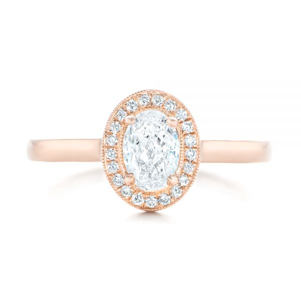 Custom Rose Gold and Diamond Engagement Ring - Top View -  102432 - Thumbnail