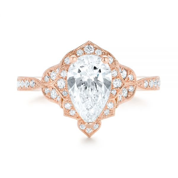 Custom Rose Gold and Diamond Engagement Ring - Top View -  102806 - Thumbnail