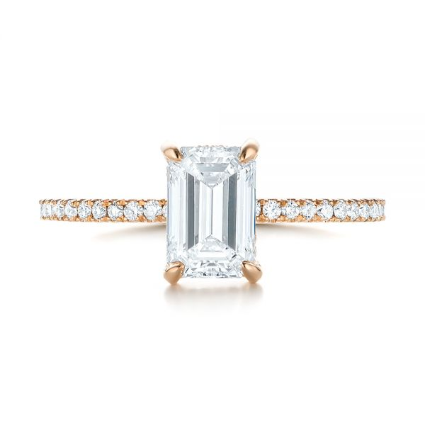 18k Rose Gold Custom Diamond Engagement Ring - Top View -