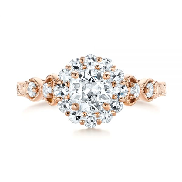 14k Rose Gold Custom Diamond Engagement Ring - Top View -