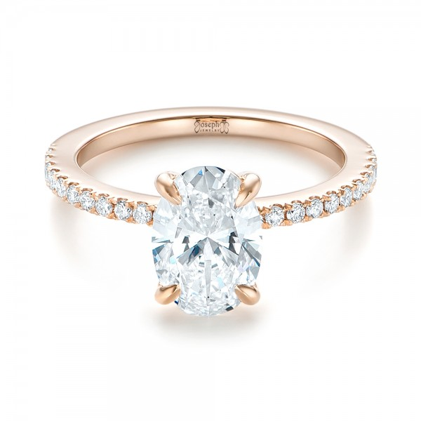 14k Rose Gold Custom Diamond Engagement Ring - Flat View -