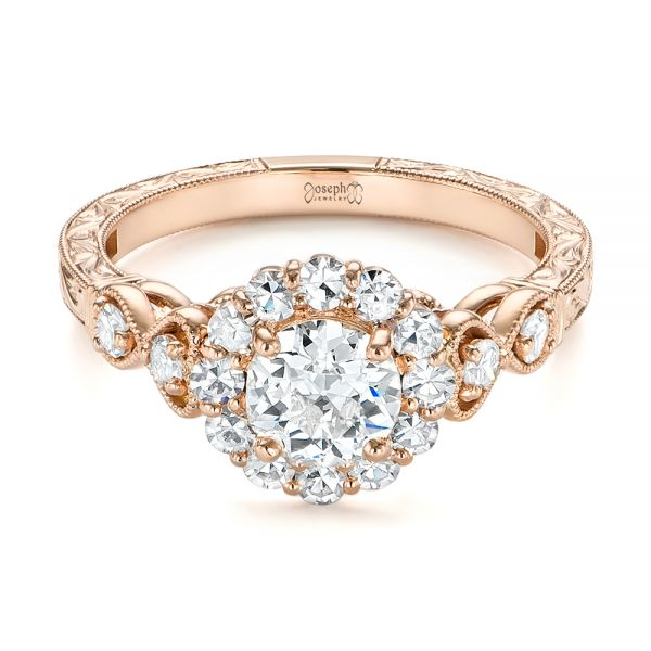 Custom Rose Gold and Diamond Engagement Ring - Laying View