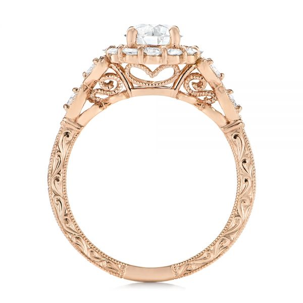 Custom Rose Gold and Diamond Engagement Ring - Finger Through View