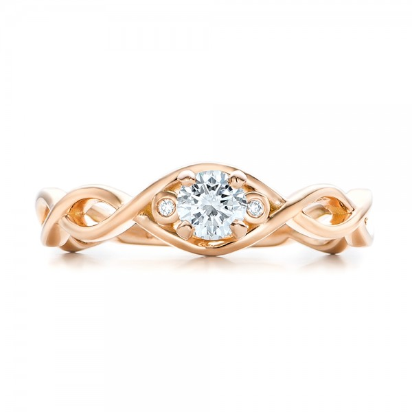 Custom Rose Gold and Diamond Engagement Ring - Top View